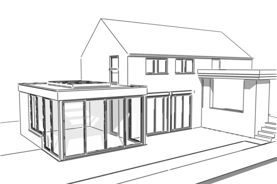 Espace de vie la v randa toiture plate by aludea for Espace de vie construction
