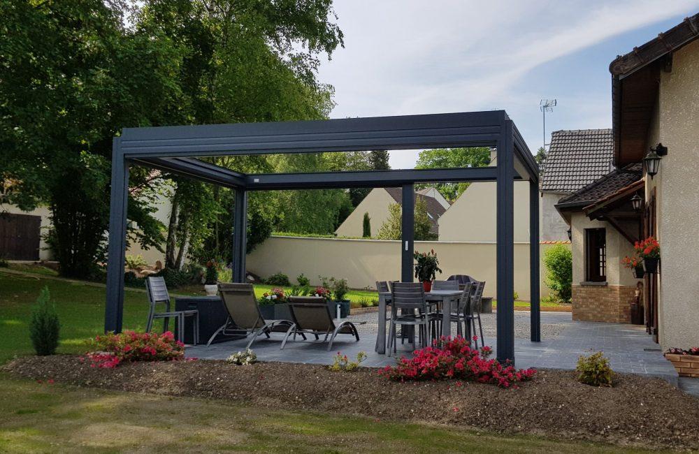 Pergola toiles Bioclimatique 5mx3m option toiles périphérique ouverte et toiture ouverte